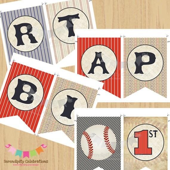 Printable Vintage Birthday Banner ~ Diy printable banner birthday vintage baseball happy
