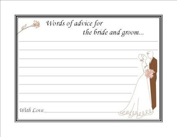 Items Similar To Couples, Bridal Shower Advice Cards On Etsy