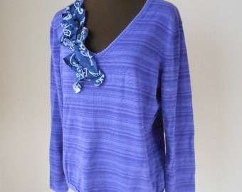 Funky Boyfriend Shirt Rustic Shabby  Pullover Sweater Weekend Slouch Shirt Purple Striped Top Altered Couture Upcycled Art Wear Recycled