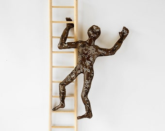 Metal sculpture - Climbing man on wood ladder - Contemporary wall art - metal art