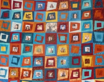 Family Tree Quilt. Pictures quilt. Unique gift for the new year. Private quilt album. Queen/king size quilt.