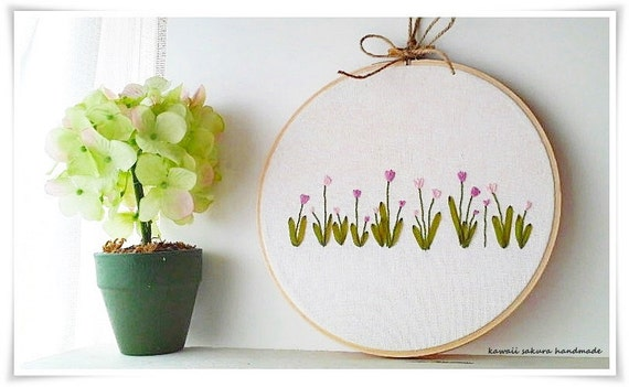 Pink tulip flower spring garden ribbon embroidery in hoop wall