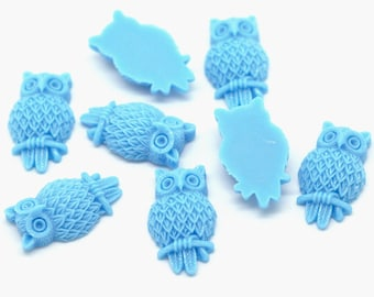 10 Resin Owl Cabochon Embellishment 31 x 18mm - BLUE - Pack of 10 CAB26