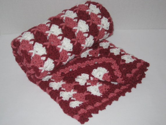 Hugs And Kisses Crochet Baby Blanket Pattern : Baby blanket Afghan Red Pink White colors crocheted hugs