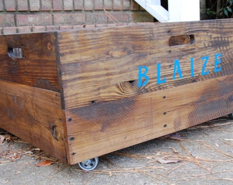 Wooden Crate/ Personalized / X-Large Industrial Rolling Crate