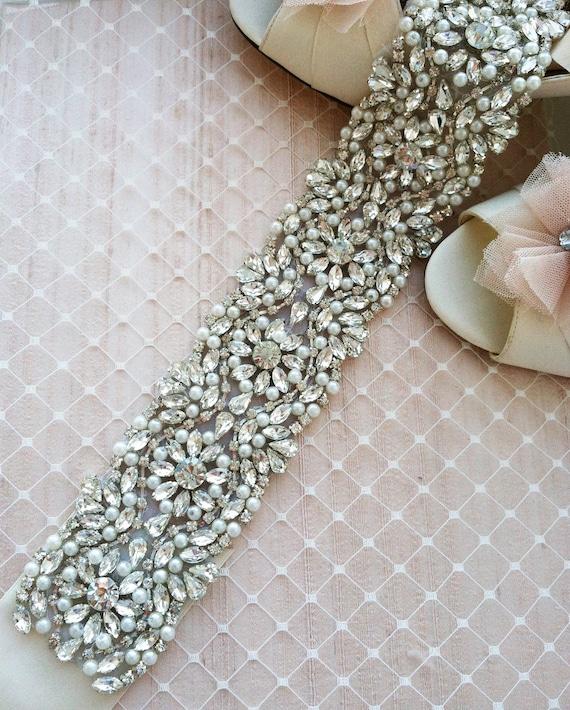 SALE Swarovski Rhinestone Pearl Wedding Sash - NEW 2013 - S1