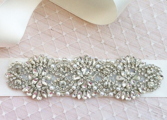 SALE Swarovski Rhinestone Pearl Wedding Sash - NEW 2013 - S8