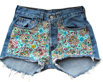 FLASH SALE! One of a kind Size 26/27 and 25/26 Day of the Dead High waist shorts