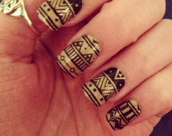 Black Aztec Nail Wraps