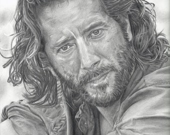 Drawing Print of Desmond (played by Henry Ian Cusick) from LOST