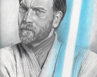 Drawing Print of Ewan McGregor as Obi-Wan Kenobi in Star Wars