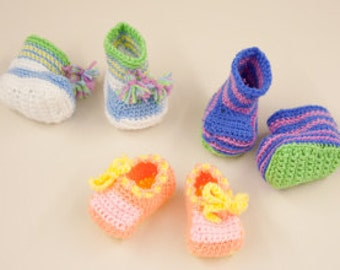 crochet pattern for baby boots and shoes size newborn to 6 months dk