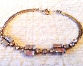 pretty vintage sparkling diamante bracelet 1950s- free size