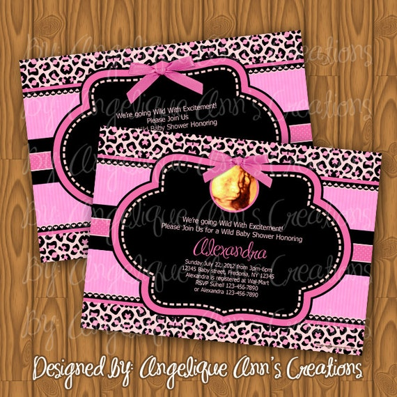 leopard print and pink baby shower invitations diy printable on etsy