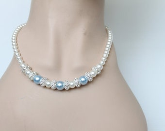 Blue Pearl Wedding Jewelry, Pear Necklace, Swarovski Pearl Wedding Necklace, Pearl Bridal Necklace, Blue Bridesmaid Jewelry