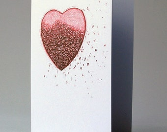Love heart - greeting card - engagement, anniversary, valentines
