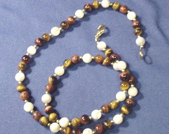 Handmade Tiger's Eye / Mother of pearl Beaded Necklace w/ Small Gold spacer Beads & Catch On Sale