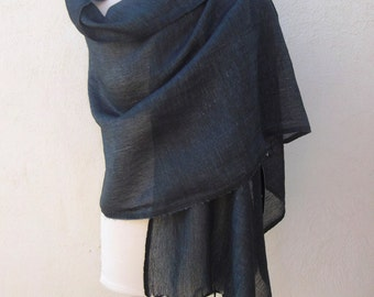 Blue Linen Fabric Scarf