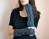 Dark night mittens - long crochet fingerless knit gloves arm warmers fingerless mittens dark gray - winter accessory
