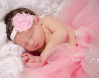 Light Pink Shabby Chic Chiffon Flower Headband for Newborn Infant Baby Toddler Girls, Photo Prop, First 1st Bithday, Cake Smash