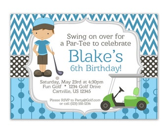 Golf Invitation - Blue Chevron and Boy Golfer with a Lime Green Golf Cart Personalized Birthday Party Invite - a Digital Printable File
