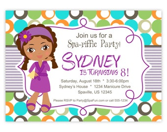 Spa Party Invitation - Lime, Turquoise, and Orange Polka Dots, Little Spa Girl Personalized Birthday Party Invite - a Digital Printable File