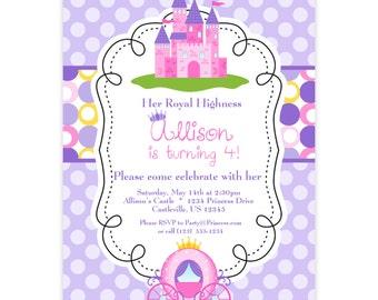 Princess Invitation - Purple and Pink Polka Dots, Royal Princess Castle Personalized Birthday Party Invite - a Digital Printable File