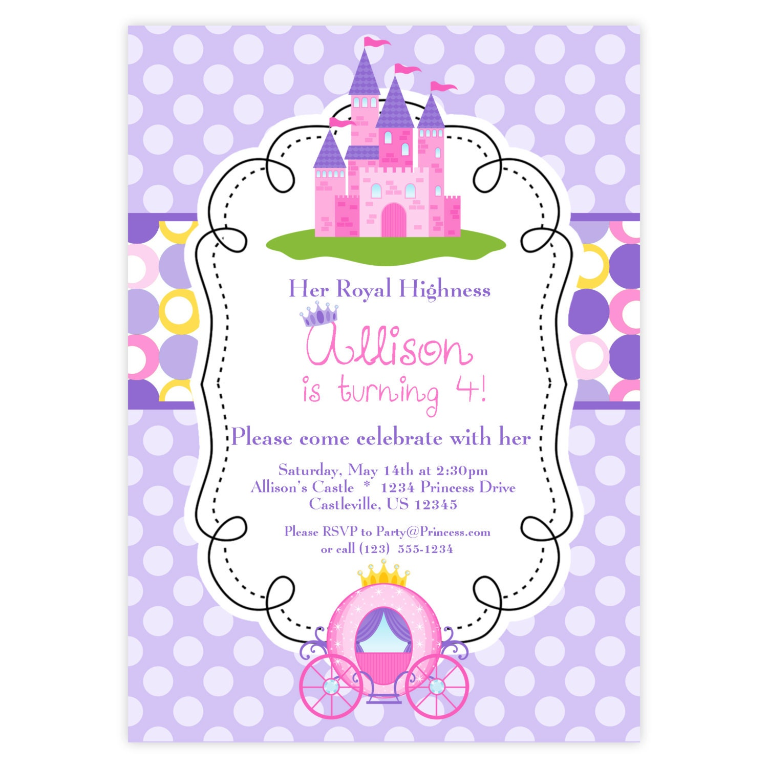 princess invitation purple and pink polka dots royal 🔎zoom