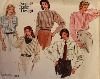 """Shirt Set Pleats & Tucks  -1970's -Vogue Pattern 1398 Uncut  Size 8 Bust 31.5 """""""