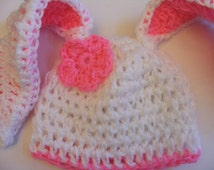 Long Eared Bunny Hat - Pink Blue or Yellow NB through 5T for Babies and Toddlers