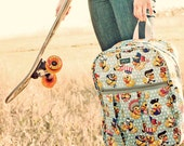 Durban Backpacker in Ducky Doodle Duckegg Blue Oilcloth - Retro Backpack