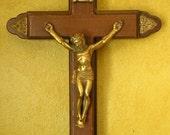 Antique Walnut Catholic Crucifix - Sick Call, Last Rights - Beautiful