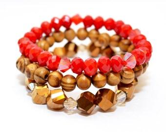 Wood Beaded Bracelet, Bracelet Set, Stretch Bracelets, Red Bracelet, Glass Beads