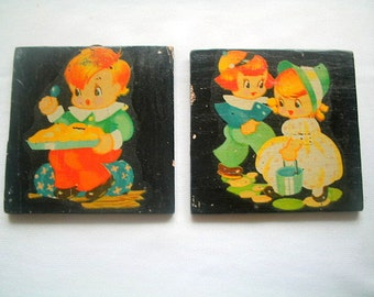 Deco Two Wood Transfer Plaques Nursery Rhymes Jack & Jill Georgie Porgie 4 x 4 Inches each