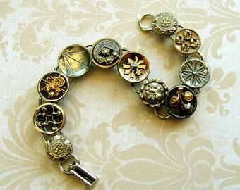 Antique Fancy Button Bracelet, Victorian buttons silver charm bracelet.  Mixed metals.  Charm bracelet, Edwarian