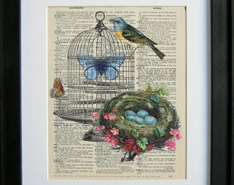 Victorian bird cage and nest  printed on a page from an antique dictionary