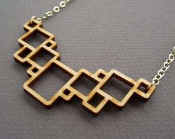Gift for her under 50, Geometric Necklace, Laser Cut Wood Necklace, Geometric Jewelry, Squares Wood Necklace, Minimalist Jewelry
