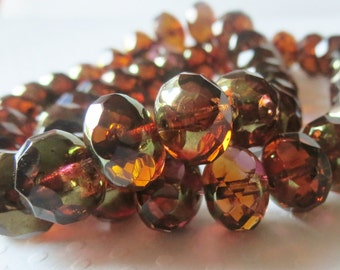 Peach Pink Brass Picasso, Czech Faceted Glass Rondelles, 6x10mm, 10 Pieces