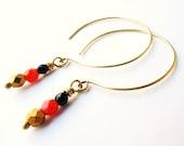 Hoop Earrings, Open Hoops, Brass Jewelry, Beadwork Dangle Earring, Modern Jewelry, Navy and Red