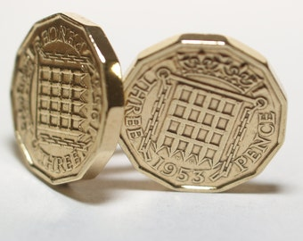 1953 Threepence 3d 65th birthday Cufflinks - Original Brass Threepence Cufflinks Hand Made
