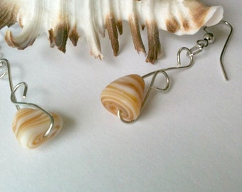 Wire Wrapped Shell Earrings Sandstone Colored Handmade