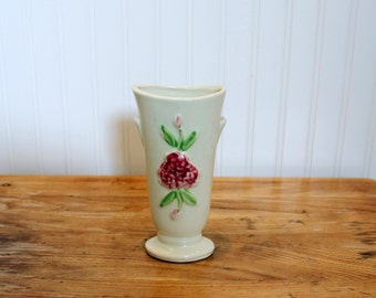 V is for Vase... Vintage Shawnee USA Vase with Handpainted Pink Flowers