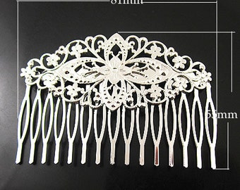 10 pcs Free shipping  wedding hair accessories/Hair Clip Lovely Detailed Brass, Sturdy Bobby Pin From Wings of Doves sterling silver plated