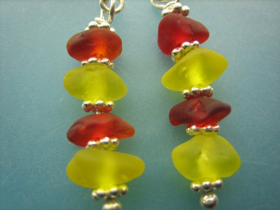 GENUINE SEA GLASS Earrings Sterling Silver Rare Colors Red Yellow Real Surf Tumbled All Natural Greek Beach Seaglass Earring Jewelry  E 168i
