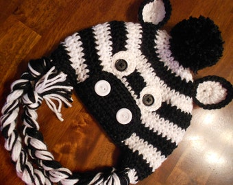 Crochet Zebra Hat- Newborn to Adult