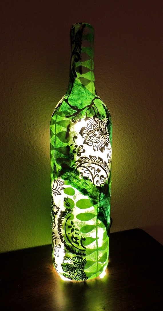 Custom wine bottle light wine bottle lamp decoupage wine for Light up wine bottles