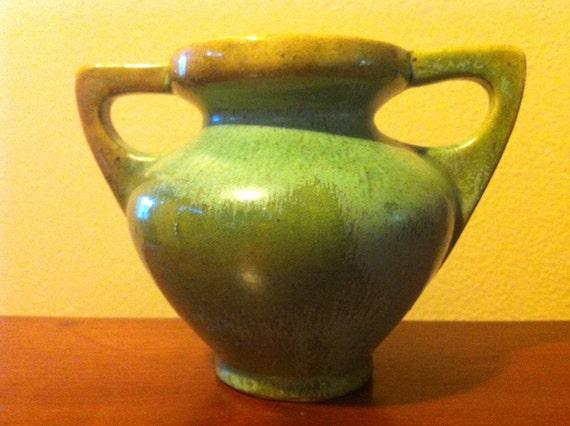 Attributed to FULPER POTTERY Two Handle Vase / Cucumber Green Glaze / Prairie Style - Stickley Era - Art Deco - Please Read