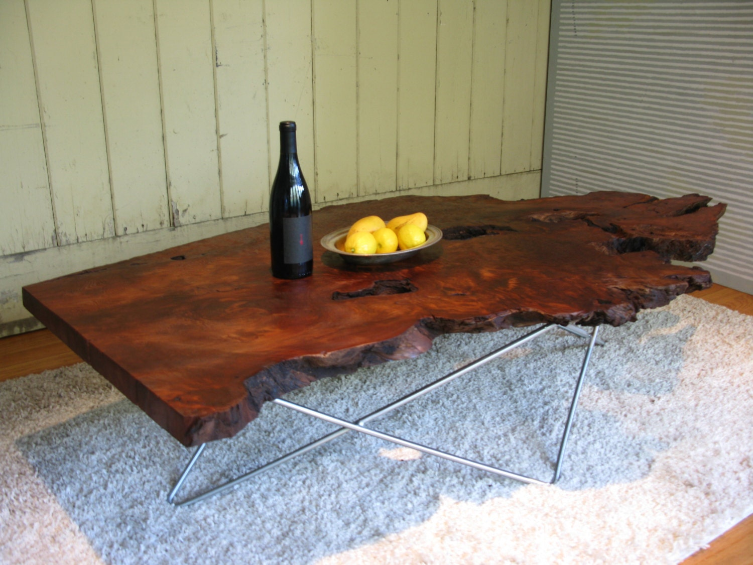 Long Redwood Burl Coffee Table With By Retroevolutiondesign