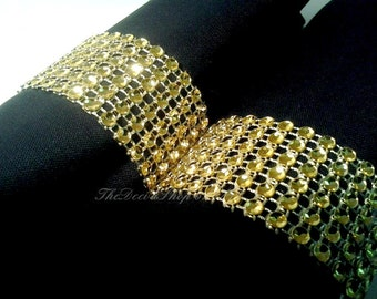 Gold Napkin Rings - Bling Rhinestone Napkin Roll Wraps - Wedding 50th Anniversary Napkin Holders - Party Napkin Rings 100 Pc Lot