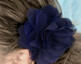 Navy Blue Begonia Flower Hair Clip